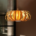 Chinese 1 Head Down Lighting Beige Pumpkin Hanging Pendant Light with Wood Shade