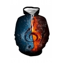 Men's Leisure Colorblock Fire and Water Music Note 3D Print Long Sleeve Black Hoodie