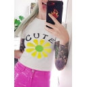 Simple Letter CUTE Cartoon Flower Pattern Short Sleeve Slim Fit White Cropped T-Shirt