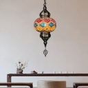 Oval Stained Glass Hanging Lighting Art Deco 1 Bulb Bar Pendant Lamp Fixture in Beige/Blue/Yellow
