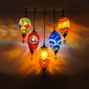5 Heads Cluster Pendant Light Traditional Teardrop Red/Yellow/Orange Stained Glass Hanging Ceiling Lamp