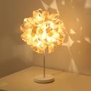1 Head Living Room Desk Lamp Japanese Beige Task Light with Spherical Wood Shade