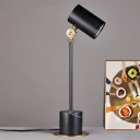 Modernism 1 Head Task Lighting Black Cylindrical Small Desk Lamp with Metal Shade