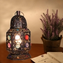 1 Head Metal Night Table Lamp Vintage Copper Lantern Living Room Nightstand Lighting