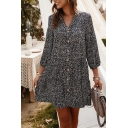 Women's Unique Dot Printed 3/4 Length Sleeves V-Neck Button Down Mini Loose Dress