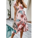 Hawaii Style Leaf Pattern Surplice Neck Short Sleeves Ruffled Asymmetric Hem Midi Wrap Dress