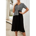 Ladies Elegant Colorblock Splicing V-Neck Short Sleeves Button Front High-Waisted Midi A-Line Dress