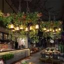 Black 8 Lights Hanging Island Light Retro Metal Lantern Plant Drop Lamp for Restaurant