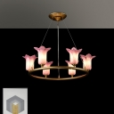 Traditional Flower Hanging Pendant 6 Heads White/Purple Glass LED Chandelier Lighting Fixture for Living Room