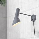 Contemporary 1 Bulb Wall Lamp White/Gray Flared Sconce Light Fixture with Metal Shade