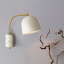 Contemporary 1 Bulb Sconce Light White/Blue/Brass Domed Wall Mounted Lighting with Metal Shade