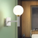 Metal Pencil Arm Sconce Light Modern 1 Head White Wall Lighting Fixture with Opal Glass Shade