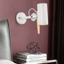 1 Head Cylinder Wall Lamp Modern Metal Sconce Light Fixture in Black/White with Adjustable Arm