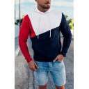 Men's Simple Cut and Sew Panel Long Sleeves Fitted Slim Color Block Drawstring Hoodie