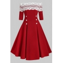 Formal Vintage Plain Short Sleeve Off Shoulder Lace Patched Double Breasted Mid Pleated Swing Dress for Ladies