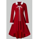 Retro Pretty Girls' Long Sleeve V-Neck Fluffy Trim Lace Up Front High Low Plain Midi Pleated A-Line Dress