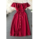 Glamorous Girls' Short Sleeve Off The Shoulder Button Down Bow Tie Waist Long Plain A-Line Dress