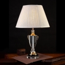 Translucent Crystal Beige Night Light Barrel Single Light Traditional Table Lamp for Living Room