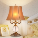 White/Beige Bell Table Lamp Antique Clear K9 Crystal 3 Heads Bedroom Nightstand Light