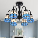Stained Glass Blue Ceiling Flush Mount Grid Patterned 6/8 Lights Baroque Semi Flush Light for Living Room