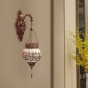 1 Light Lantern Sconce Lighting Traditional Copper Stained Glass Wall Mounted Lamp Fixture