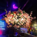 Pink Blossom Pendant Chandelier Retro Metal 3 Bulbs Restaurant Suspension Light