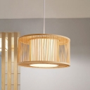 Wood Drum Ceiling Lamp Asian 1 Head Bamboo Hanging Pendant Light with Inner White Shade
