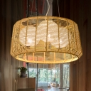 Bamboo Drum Chandelier Lighting Japanese 3 Bulbs Hanging Light Fixture in Beige for Tearoom