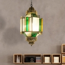 3 Heads Lantern Pendant Chandelier Vintage Brass Metal Hanging Lamp with Seeded Glass Shade