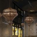 Metal Bronze Ceiling Chandelier Crown 4 Heads Traditional Ceiling Pendant Light for Restaurant