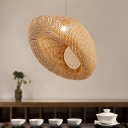 1 Head Living Room Hanging Lamp Asia Flaxen Pendant Light Fixture with Handmade Bamboo Shade