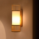 1 Bulb Cylindrical Sconce Light Chinese Wood Wall Mounted Light Fixture in White