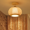 Pumpkin Semi Flush Mount Asian Bamboo 1 Bulb Flaxen Close to Ceiling Lighting, 14