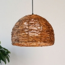 Domed Rattan Ceiling Lamp Asia 1 Head Brown Pendant Light Fixture with Inner Orb White Glass Shade