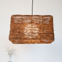 1 Head Living Room Pendant Lamp Asian Brown Ceiling Hanging Light with Rectangle Rattan Shade