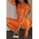 Plain Orange Long Sleeves Round Neck Glitter T-Shirt with Flared Pants Two Piece Set