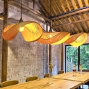 Curved Pendant Lighting Asia Bamboo 1 Bulb Beige Hanging Light Fixture for Dining Room