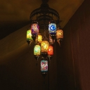 10 Lights Cylinder Chandelier Lighting Art Deco Pink-Blue-Yellow Glass Hanging Lamp