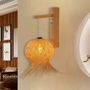 Flaxen Handcrafted Wall Lamp Chinese 1 Bulb Bamboo Sconce Light Fixture for Living Room