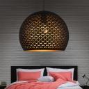 1 Head Metal Pendant Lighting Art Deco Black Globe Restaurant Ceiling Suspension Lamp