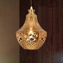 Metal Brass Ceiling Light Jar 1 Bulb Decorative Pendant Lighting Fixture for Restaurant