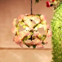 4 Heads Metal Pendant Chandelier Industrial Pink Globe Restaurant LED Down Lighting with Cherry Blossom Decor