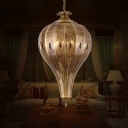 Traditional Teardrop Hanging Chandelier Metal 4 Bulbs Ceiling Pendant Light in Brass