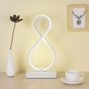 White Bent Desk Light Contemporary LED Acrylic Task Lighting with Rectangle Metal Base