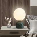 Contemporary Spherical Task Lighting Milky Glass 1 Head Small Desk Lamp in Green