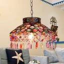 Metal Rust Ceiling Suspension Lamp Bowl 1 Bulb Traditional Pendant Light for Living Room