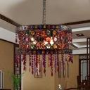 3 Bulbs Hanging Chandelier Art Deco Drum Metal Pendant Light Fixture in Bronze for Living Room