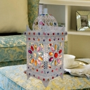 Antique Lantern Table Lighting 1 Bulb Metal Nightstand Light in White for Living Room