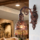 Metal Copper Wall Lamp Domed 1 Head Antique Sconce Light Fixture with Carved Curvy Arm