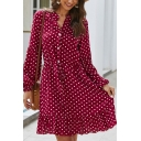 Ladies Casual Polka Dot Print Lantern Sleeves Button Placket Drawstring Waist Ruffle Hem Mini A-Line Dress